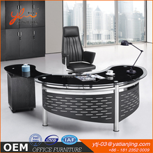 Hot sell modern executive office desk Tempered glass steel computer desk New office table with glass top and locking drawers