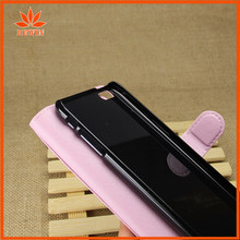 wooden stand flip pu leather case for iphone 6 with angle display