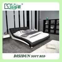 Modern design black leather king size bed DS-145