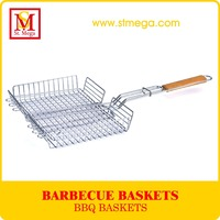 Wooden Handle BBQ Grill Basket