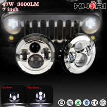 "Super bright Latest design 7"" Round 12V 24V high low beam H4 Motorcycle led headlight for Jeep Wrangl Halo daytime running light"