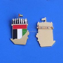 casting engraved UAE flag/map and spirit of union badge with safety pin