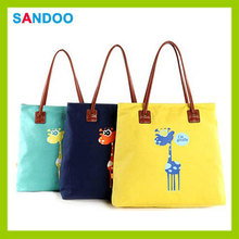 BSCI audit bag for women handbag, trendy cute canvas tote bag leather handle for 2016