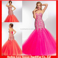 HE2064 New design coral boned bodice heavy beaded top mermaid layer tulle skirt long 2014 sexy beaded mermaid prom dresses