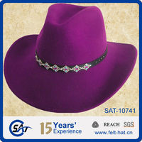Fashion design 100% wool felt purple cowboy hat