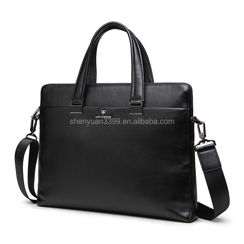 2016 hot sale business style real leather man hand bag, genuine leather shoulder hand bag