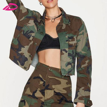 Women Fashion Vintage Long Sleeve Bite the Bullet Casual Clothing Camo Jacket