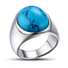 stainless steel man blank turquoise stone ring