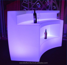 Glowing Mobile Led plastic portable bar counter furniture led light round bar counters