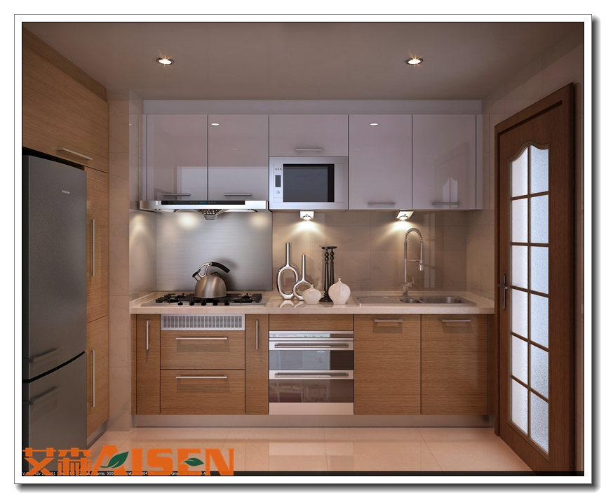 Apartment Bright Color Kitchen Cabinet Small Kitchen