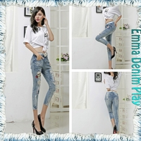 Women Stretchy Embroidery Ripped Organic Cotton Denim Jeans