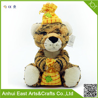 CUSTOM CUTE TIGER PLUSH STUFFED TOY HAND GIFT BAG AND WEAR A HAT FOR CHILDREN