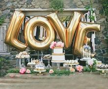 "Wholesale 40"" Large Gold /Silver LOVE Aluminum Foil Balloon Wedding Festival Decoration Ballons Anniversary Balloons"