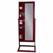 Framed Wooden Full Length Floor Mirror Display Jewelry Cabinet