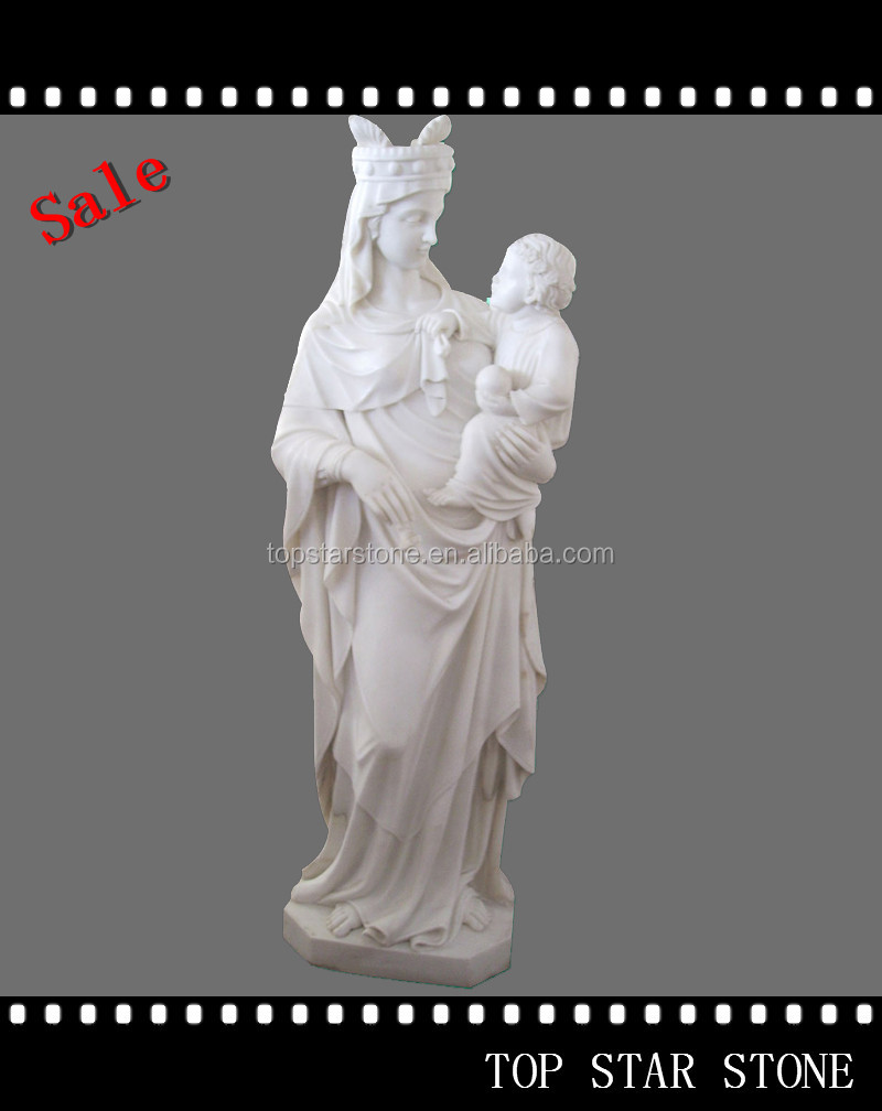White Marble Mary and Jesus Religious Statue