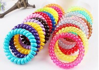100pcs/lot Elastic Telephone Cord Hair Tie Wire Coil Hair Bands Rope Ponytail Holder