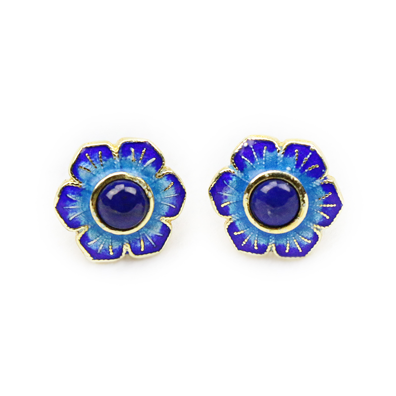Vintage Solid Silver Filigree Cloisonne Enamel Flower Earring Stud with Blue Stone