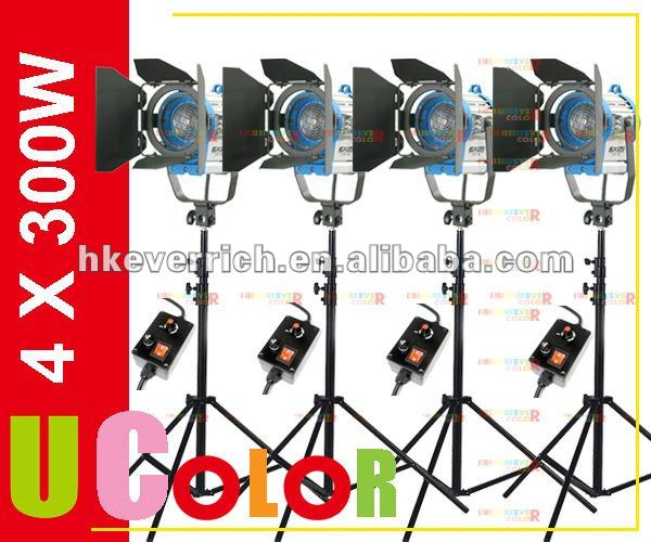 4 X 300W Tungsten Fresnel Continuous With Dimmer Light Video Spot Movie Lighting Kit 1200W