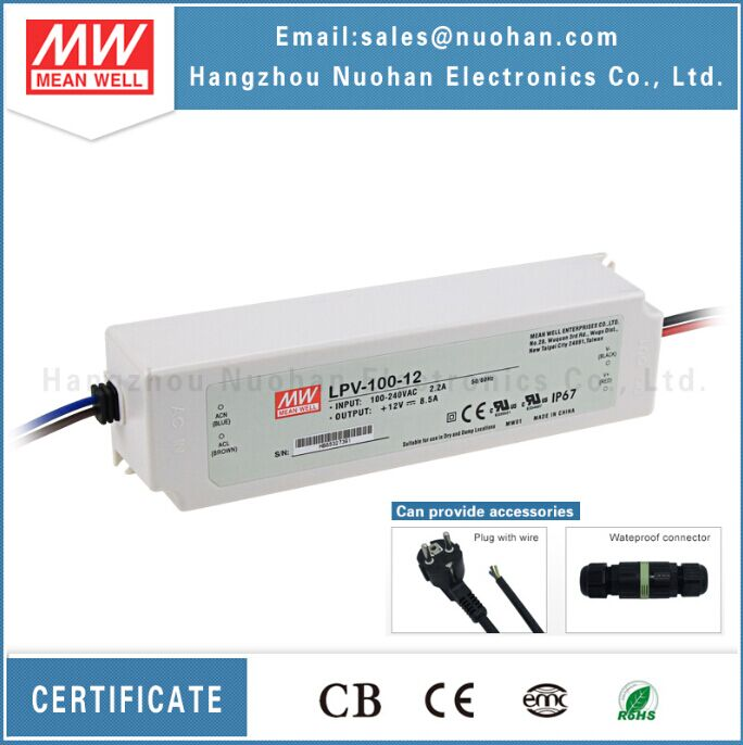 Mean well LPV-100-12 100w 8.5a 12v IP67 waterproof led driver 100w 12v led driver