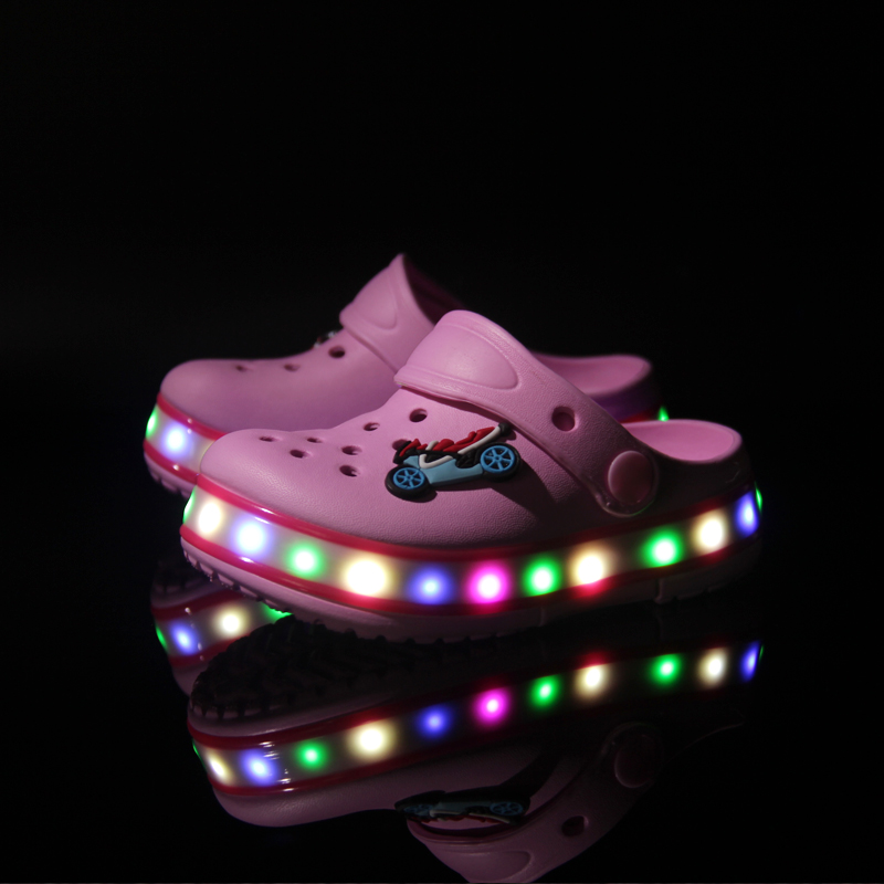 2016 new style cakes led luminous leisure <strong>flat</strong> summer shoes kids DongDong led sandals
