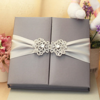 Wholesale Top Quality Handmade Silk Boxed Wedding Invitation Folio with Brooch