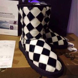 Black and White Pattern Snow Boots Super Warm Fur Ladies Shoes