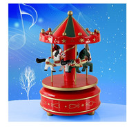 Small happy christmas wooden musical box for gift