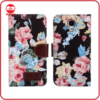 Stylish Book Style Flower Design Fabric Wallet Flip Leather Purse Case for Samsung Galaxy S4