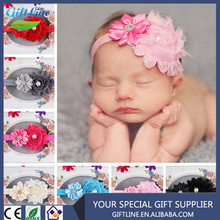 High Quality Wholesale Boutique Satin Rhinestones Ribbon Bow Headband/ Baby Beaded Chiffon Flowers Headbands Handmade