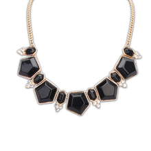 Wholesale jewelry supplies china fake new design gold necklace black artificial stone necklaces PN2284