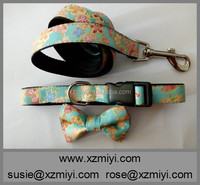 Personalized Cotton Laser Flower Print Dog Collar and Leash With Bow