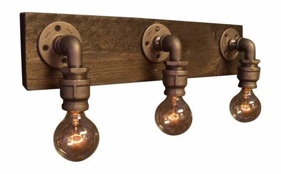 Farmhouse Reclaimed Wood Industrial Industrial Chic Bathroom Light