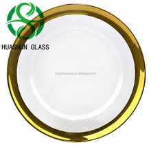 Wholesale Unique Wedding and Rental Gold Silver Rimmed Glass Decoration Charger Plate