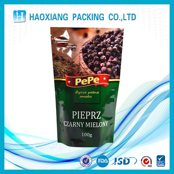 Wholesale printed Custom make pepper packing self-standing zipper bag