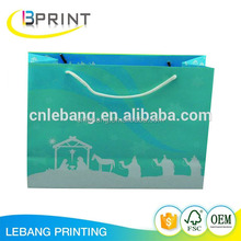 Full color with gold powder Christmas paper bag for gift