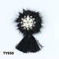 Elegance black feather badge with crystal brooch for fashion jewelry