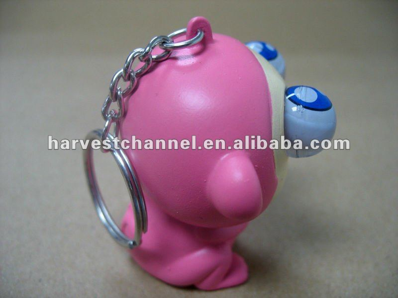 plastic little hippo shaped keychain, pop-out and rolling eye keychain, promotional gift key chain