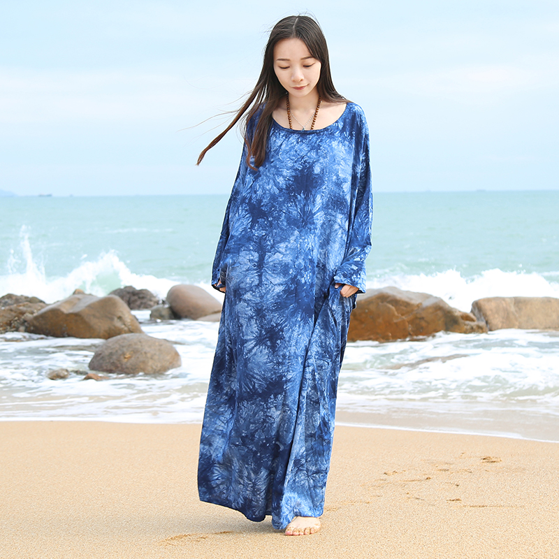 2017 Ethnic Women Dress Batwing Sleeve Beach Maxi Dress Tie Dye Cotton Linen Plus Size Gown Vintage Robe