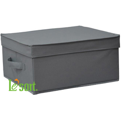 M Size Wholesale Grey Fabric Storage Box with Lid, Foldable storage case with cover