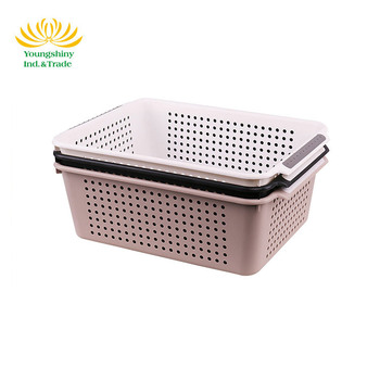 OEM design eco-friendly kitchen rectangle plastic household washing storage basket