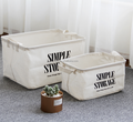 New Product Fashion Natural Linen Cotton Folding Storage Box with handle Sundry Cloth Cosmetic Storage Basket