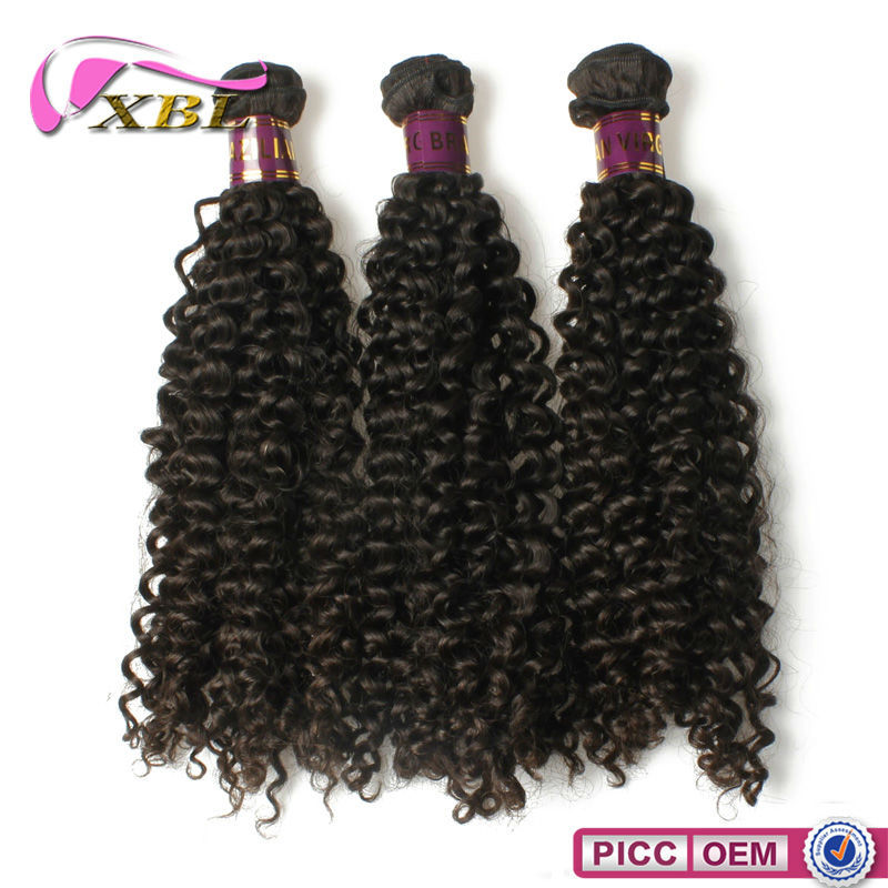 XBL good quality full cuticle thick end remy curly hair styles on sale real Brazilian weave