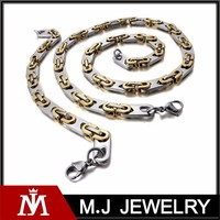 Cheap Punk Stainless Steel Jewelry Set Mens Link Chain Necklace and Two Tone Cuff Bracelet