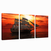 Boat on Sea Scenery Canvas Painting Ocean Sunset Natural Wall Picture