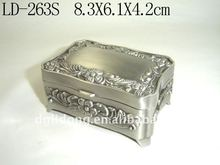 Docrative Square Pewter plated Metal Necklace Box