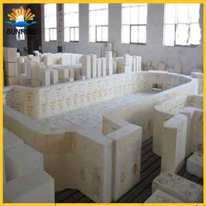 Fused casting refractory azs block glass melting furnace for sale