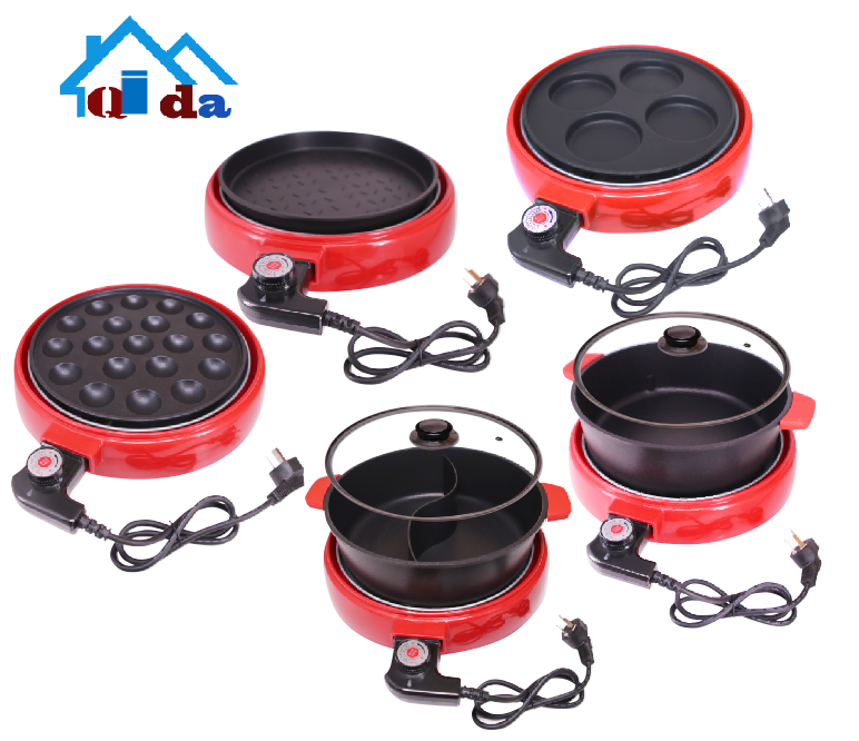 Electric hot pot cookware set household boiler egg cake black aluminum frying pan