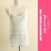 Summer Style Fashion Girls Womens Fishnet Tassels Knitted T Shirts Tanks Casual White Hollow out Cover ups