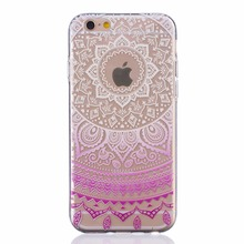 Luxury PC Clear Lace Flower Phone Cases soft Housing BaLuxury PC Clear Lace Floweck Cover for iPhone 6 6S clear transparent Case