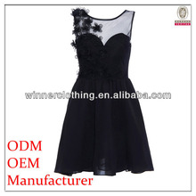 Factory manufacturer top fashion flower embellished sexy vinyl dress